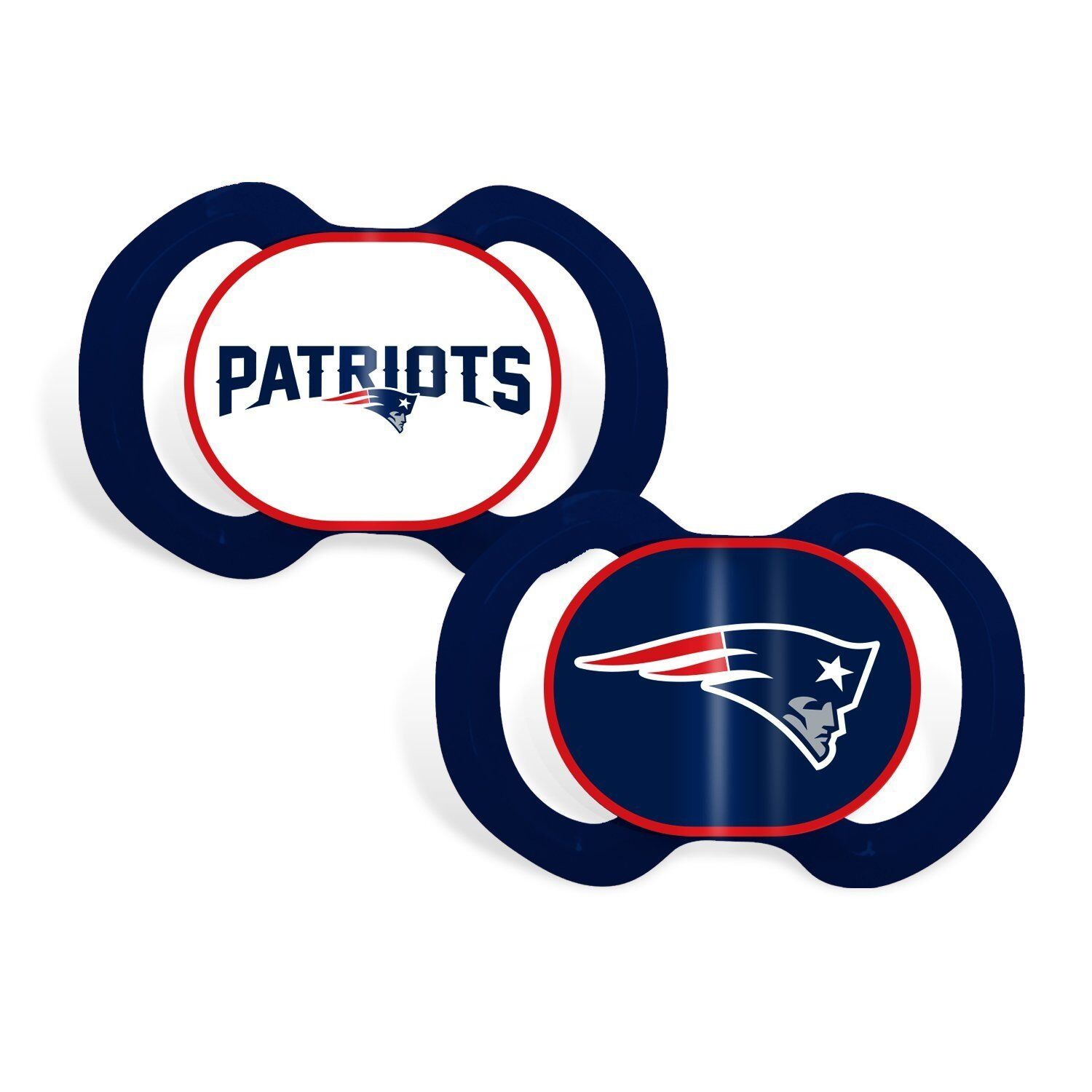 New England Patriots 2 Pack Baby Infant Orthodontic Pacifier Set Nfl