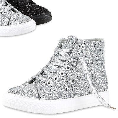 Damen Freizeit Sneakers High Glitzer Turnschuhe Canvas Schuhe 811113 Top (High-top Glitzer Sneaker)