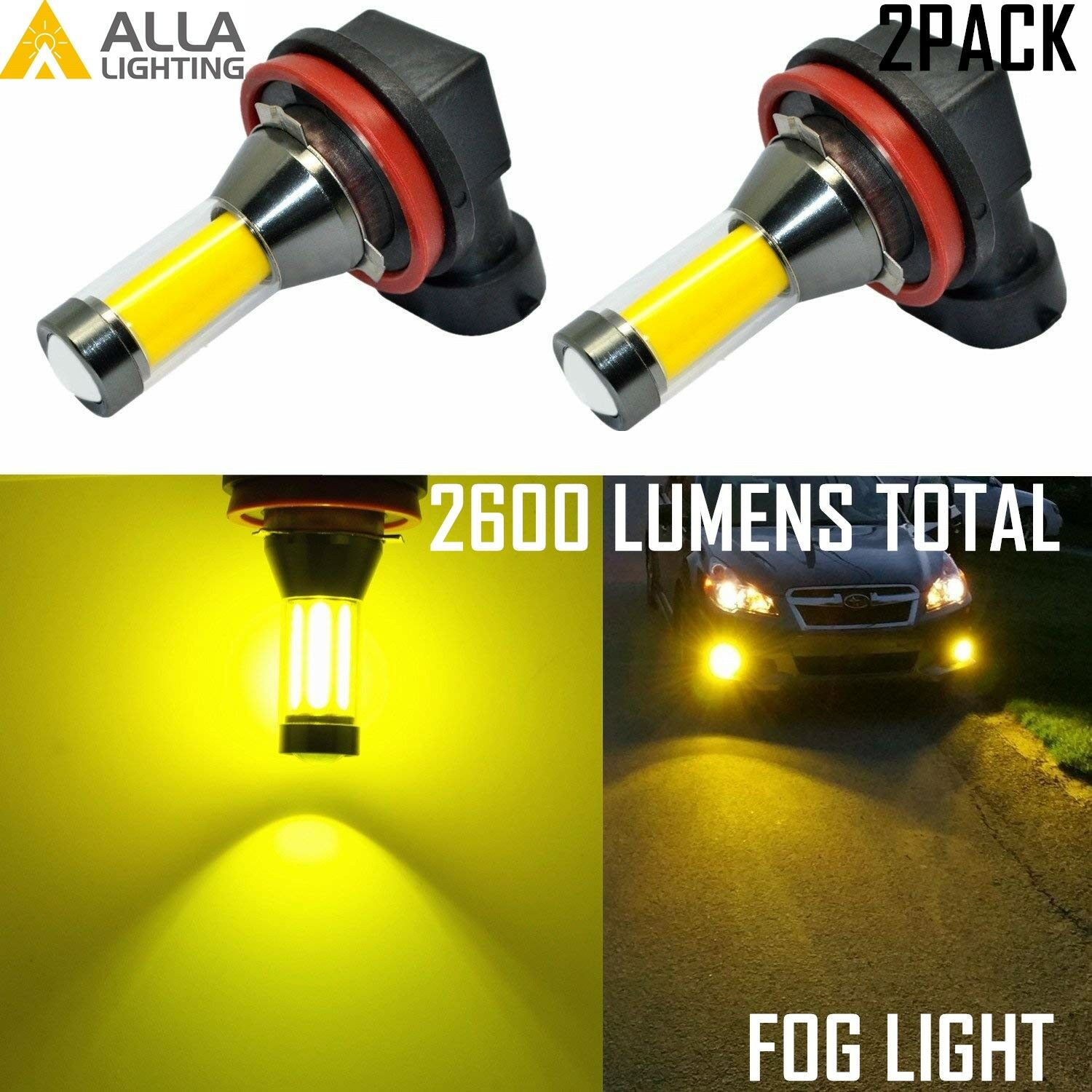 AllaLighting LED H11 Driving Fog Light Bulb Lamp 3000K Bright Yellow Replacement