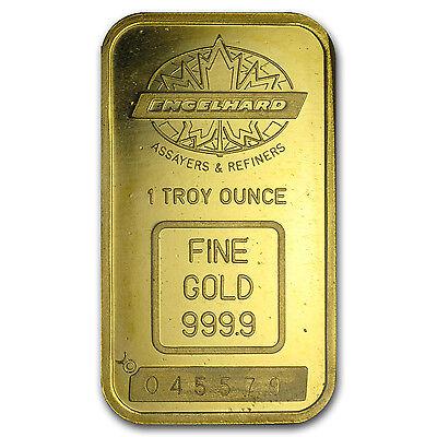 1 oz Gold Bar - Engelhard (Tall, Maple Design, Smooth, Border) - SKu #57303