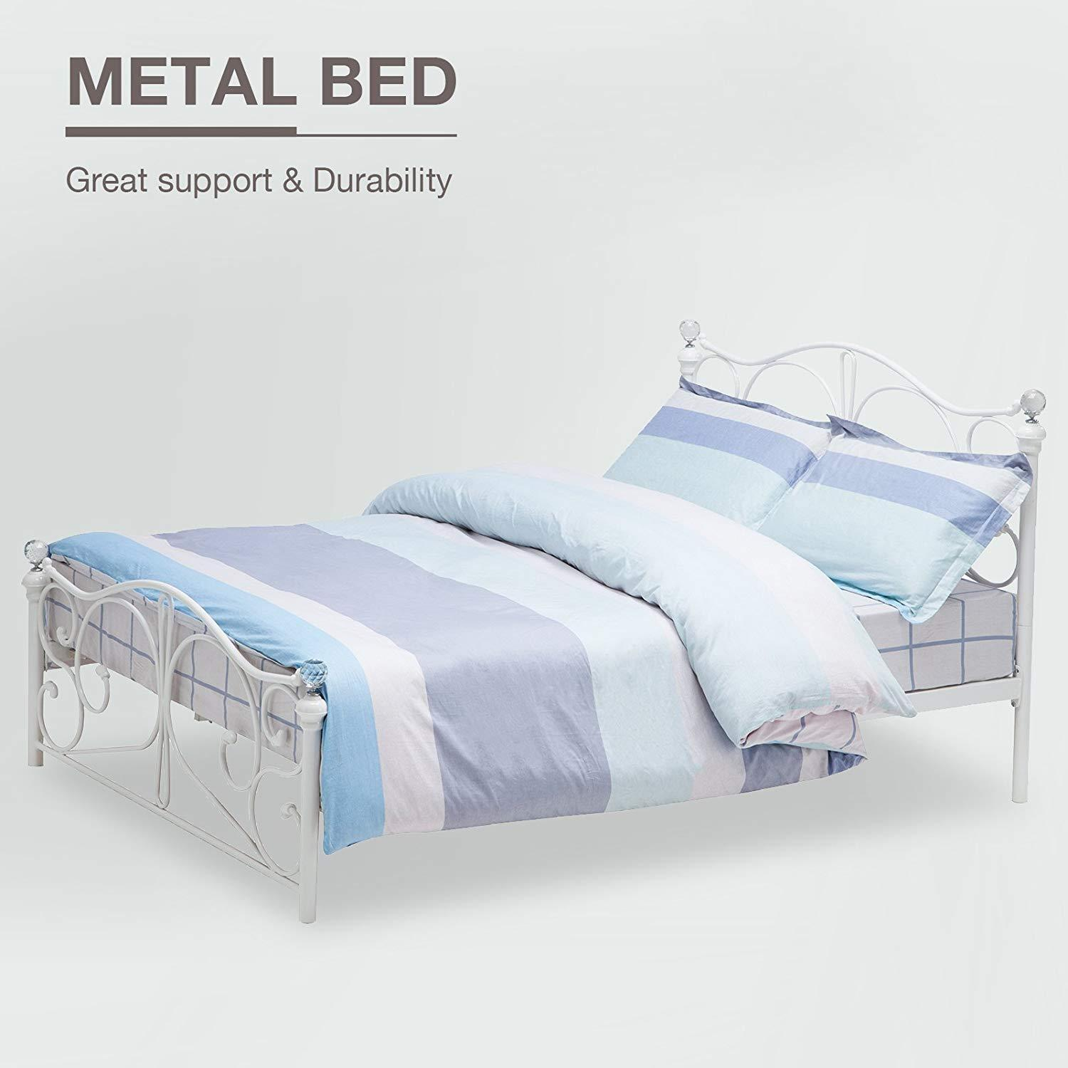 5ft King Size Sturdy Metal Bed Frame Wooden Slatted Support With