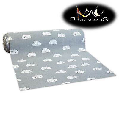 NON-slip Runner CLOUDS grey for kids RUGS Width 100, 150, 200 cm extra