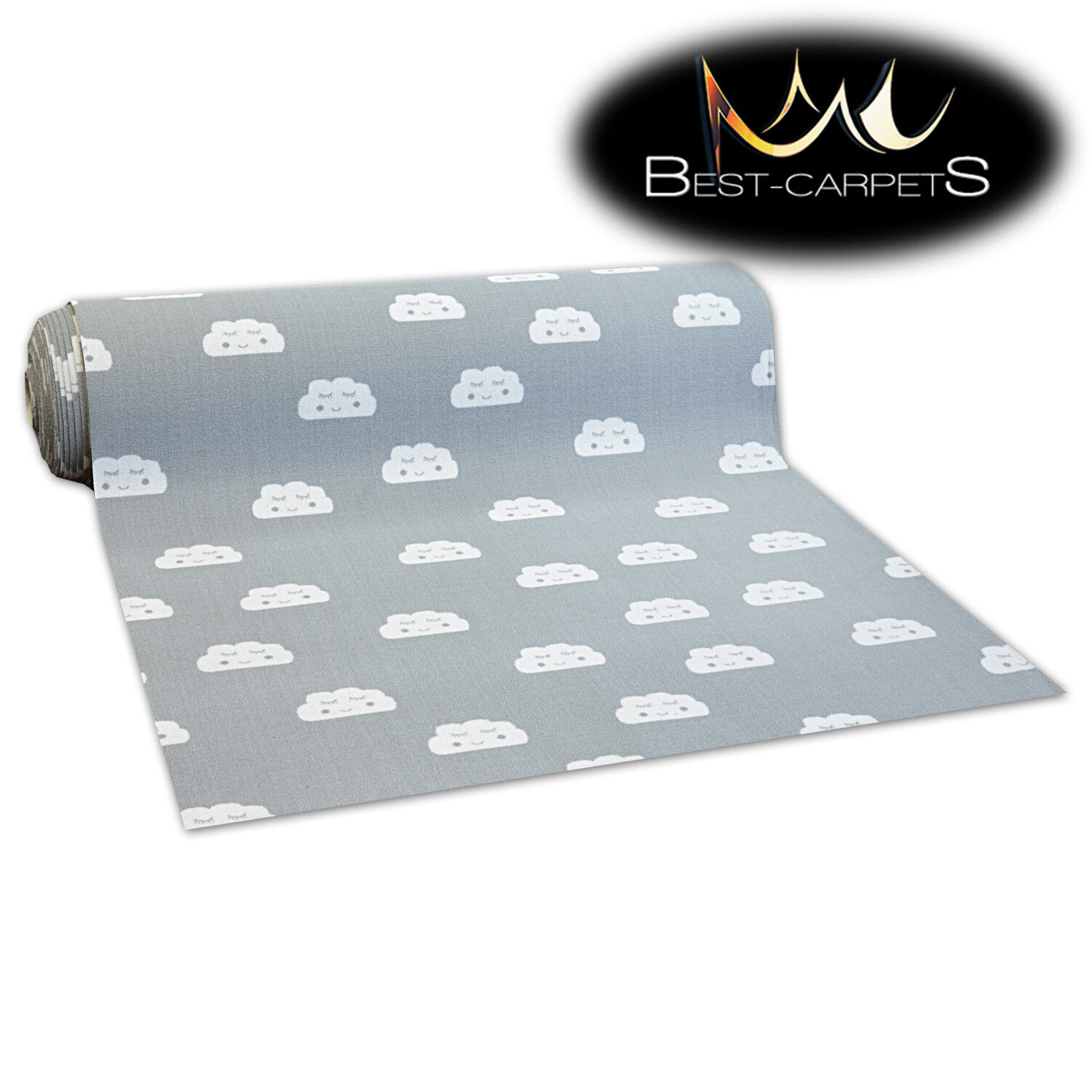 NON-slip Runner CLOUDS grey for kids RUGS Width 100, 150, 20