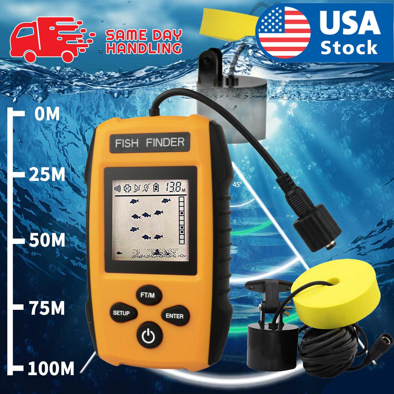 328FT Portable Fish Finder Depth Echo Sonar Alarm Sensor Transducer Fishfinder Fishfinders