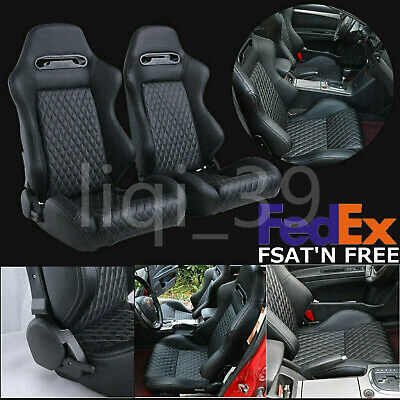 Universal 2X Sport 3D Full Wrap Leather Car Racing Seat Reclinable Bucket Black