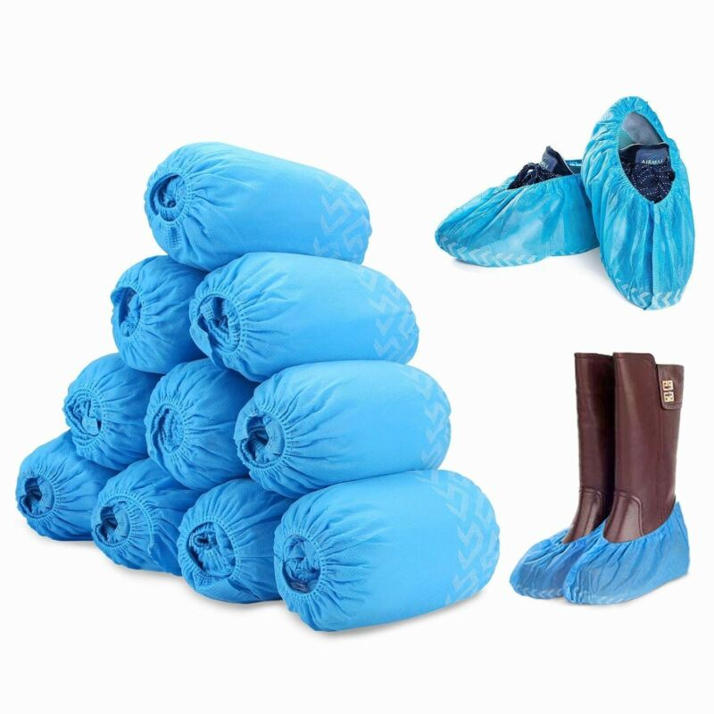 200Pcs Disposable Boot & Shoe Covers, PE Non-Slip and Protective Corona Germs