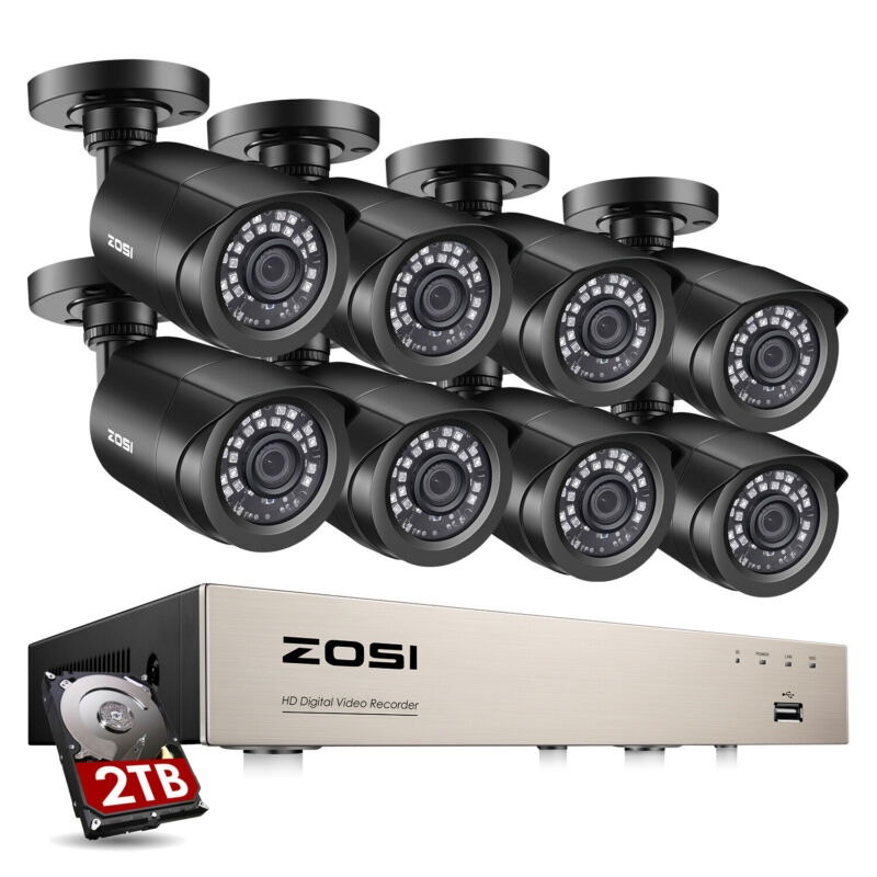 ZOSI H.265 8CH 5MP Lite DVR 1080P HD CCTV Security Camera System IR Night Vision