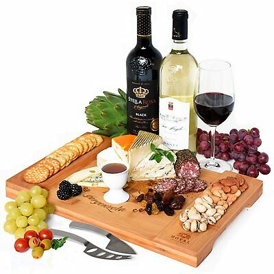 Bamboo Charcuterie Board & Cheese Platter - Meat, Crackers, Fruits & Cheese Tray
