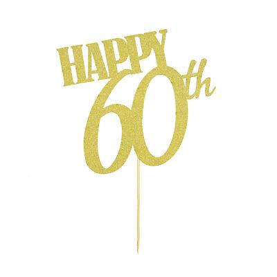 Muffin Topper (Torten Kuchen Muffin Topper Aufsatz Happy 60th Geburtstag Jubiläum Deko - Gold)