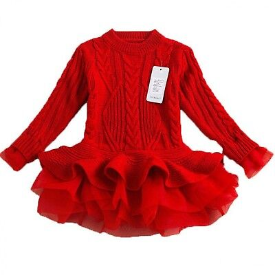 Winter Party Dresses For Girls (Winter Sweater For Girls Party Tutu Dress Christmas Children's Costumes)