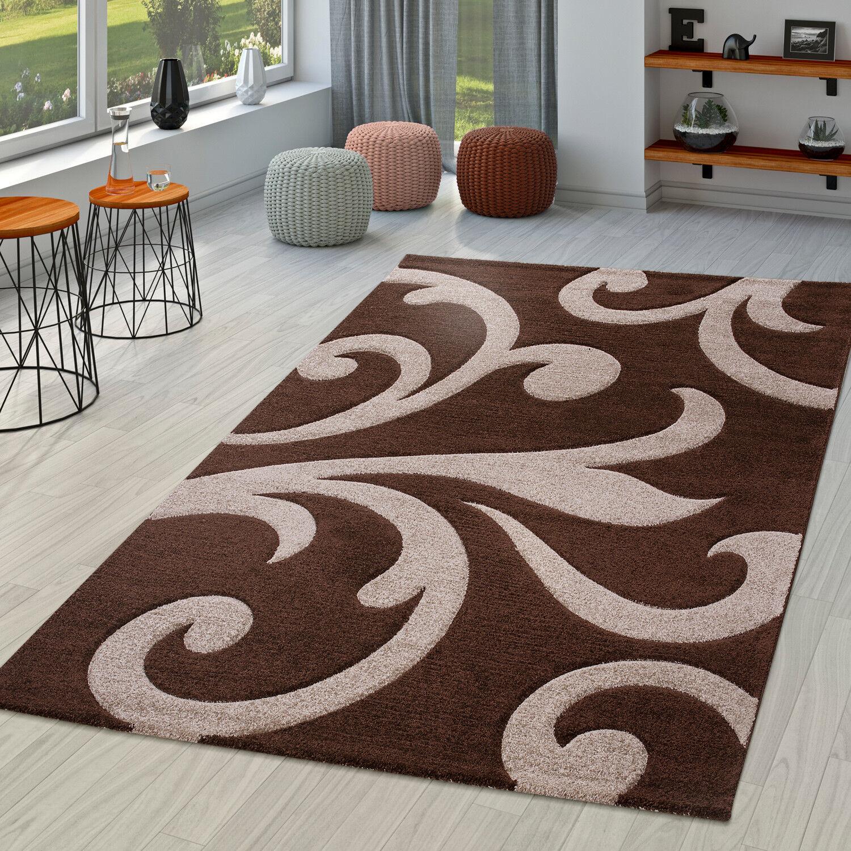 Wohnzimmer Teppich Ranken Muster Konturenschnitt In Braun Beige