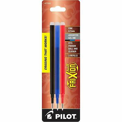 Pilot Frixion Ball Erasable Gel Ink Refills 0.7mm Fine Point - Black Blue Red