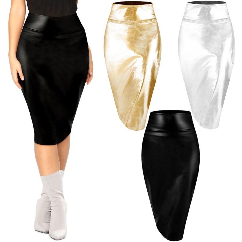 Womens Metallic Midi Pencil Skirt Shiny Faux Leather High Waist Sexy Bodycon