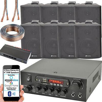 4 Zona Altavoz Bluetooth Kit – 8x 70W Negro Montaje Pared –...