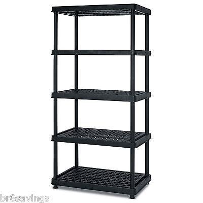 Keter Poly Resin 5 Tier Shelf 36 x 24 x 72 Garage Storage Utility Rack Organizer