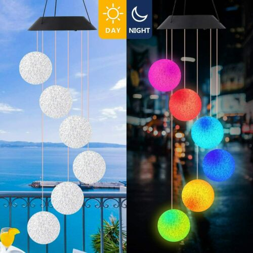 garden decor - SkyBall Wind Chimes Solar Powered LED Light Colour Changing Garden Outdoor Decor