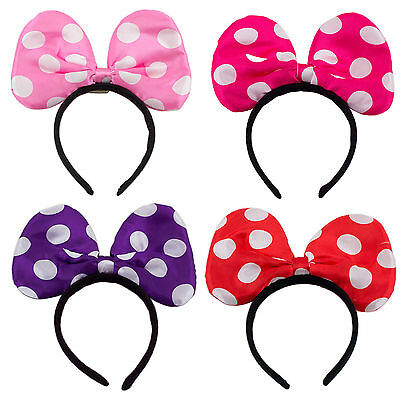 12 Minnie Mickey Mouse Ears Light Up Bow Headbands Flashing LED Party Favors Lot