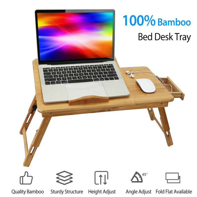 Portable Folding Lap Desk Bamboo Laptop Notebook Sofa Bed Table Adjustable Stand