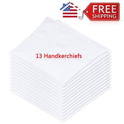 One Pack of 13 Pcs White Cotton Men's Handkerchiefs (H012)