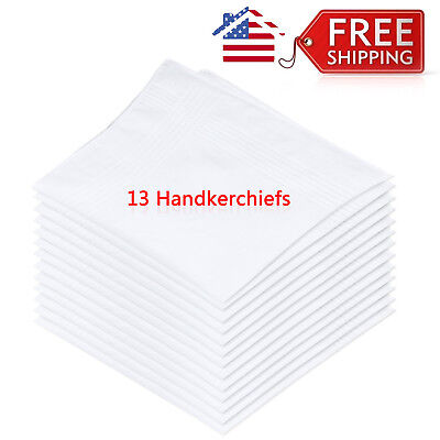 "13x Mens White Pocket Cotton Handkerchiefs Hankie Hanky Sweat Face Towel 16""X16"""