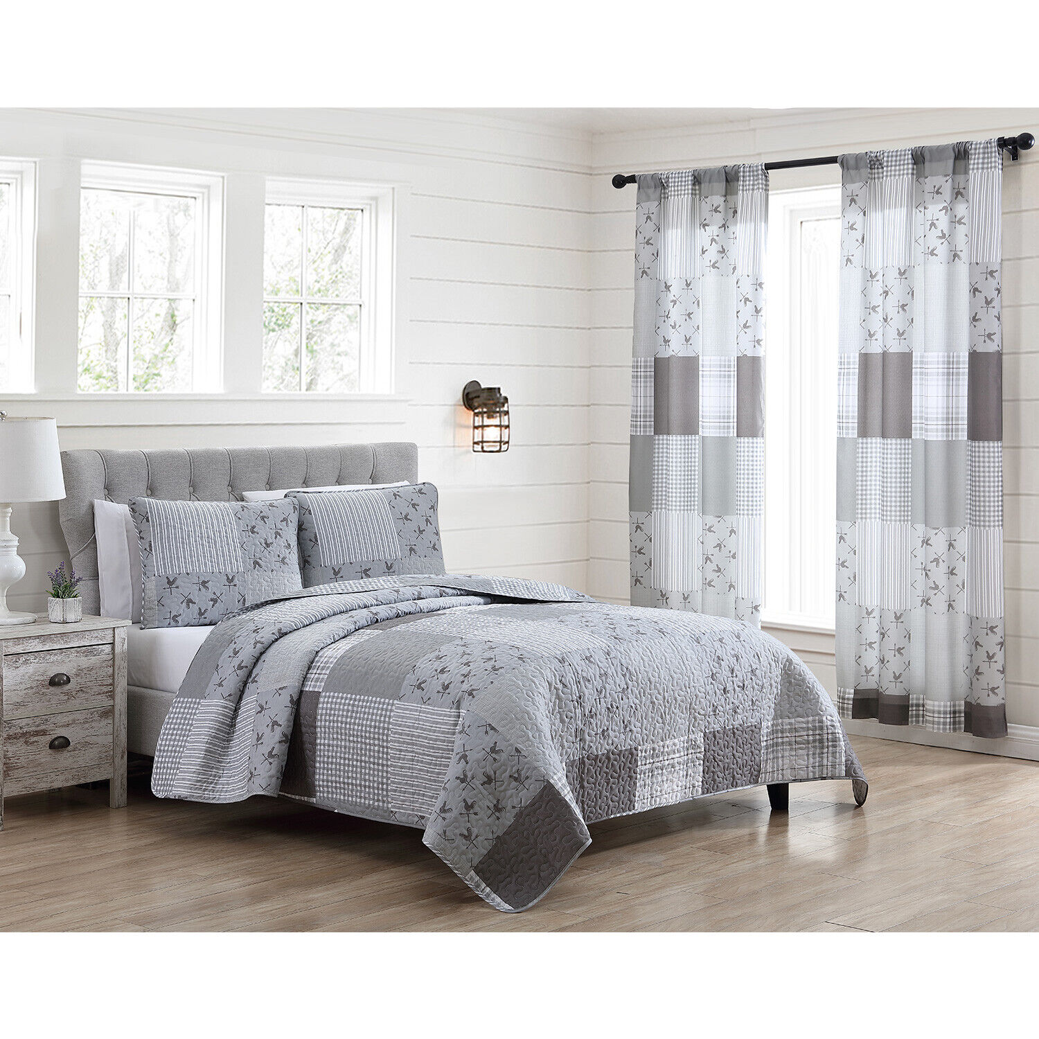 Full/Queen or King Farmhouse Patchwork Quilt Bed Set or Window Curtains, Grey Bedding