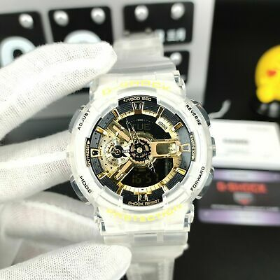 New G-Shock Men's Watch White Clear Strap Digital Chronography GA110GB