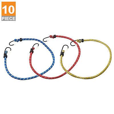 "10pc Bungee Cord Tie Down Set   24"" inch Heavy Duty Straps 2 Hooks"