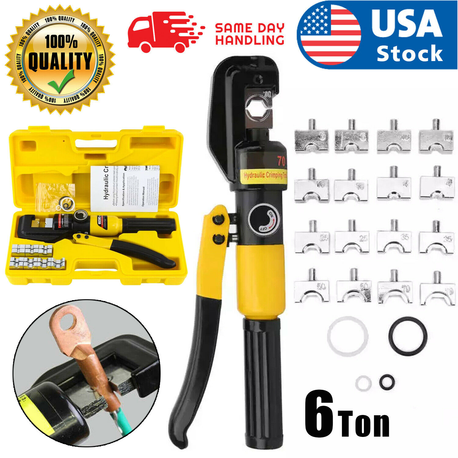 6 Ton Hydraulic Wire Battery Cable Lug Terminal Crimper Crimping Tool 8 Dies US Business & Industrial