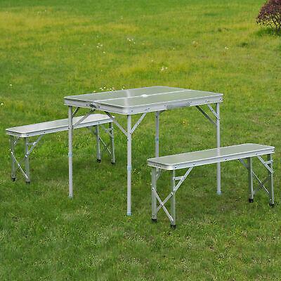 Outsunny Folding Picnic Table Bench Potable Aluminum Outdoor Garden BBQ Camping