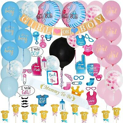 109-Pc Baby Gender Reveal Party Pack DIY Party Decor Supplies Kit FREE SHIPPING