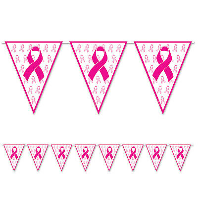 12 ft PINK RIBBON Pennant BANNERS Breast Cancer Awareness FUNDRAISER DECORATION