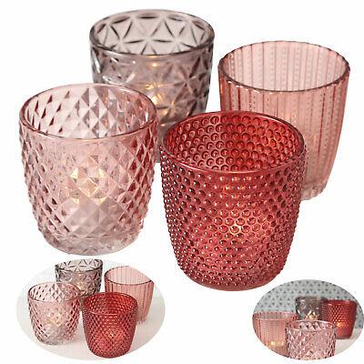 4x Glas Teelicht-Halter Set Rosa Rose Kerzen-Gläser Ständer Windlicht Tisch-Deko