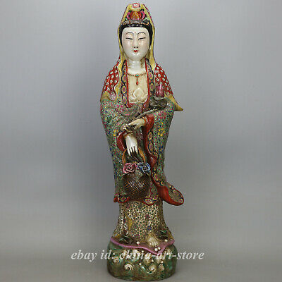 "17.4"" China Porcelain Famille-rose Buddhism Hold Basket Kwan-yin Guan Yin Statue"