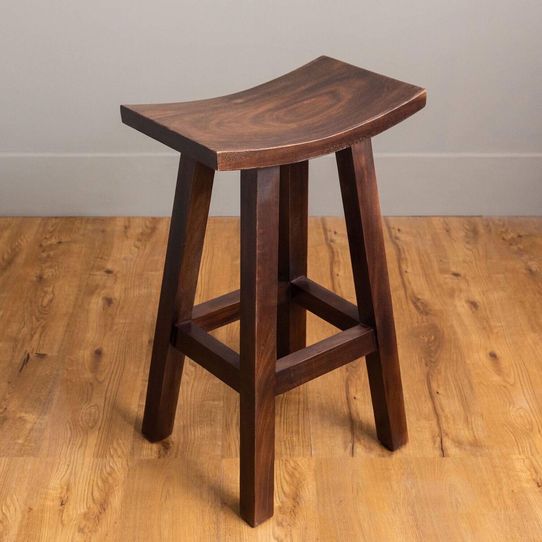 WOHNFREUDEN Barhocker Broni 50 x 30 cm aus Suar-Holz Holz-Barhocker dunkelbraun