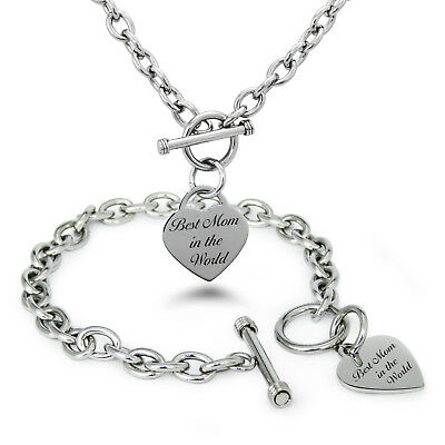 Stainless Steel Best Mom in the World Heart Charm Bracelet, Necklace, (Best Mom In The World)