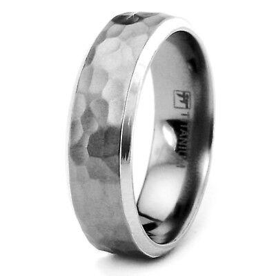 Titanium Hammered Design Wedding Mens Wedding Band 8MM   FREE ENGRAVING - Engraved Wedding Band Mens Rings