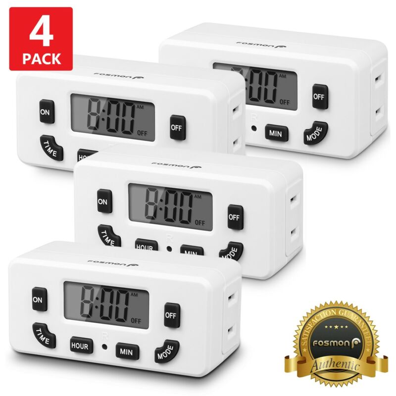 4xDigital Clock Timer Single Outlet Plug In Switch Electric 24Hour Programmable