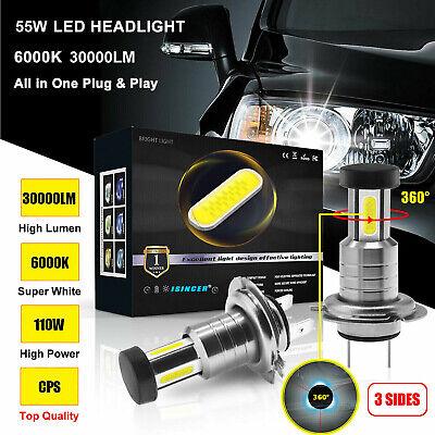 3 Sides 360° 110W 30000LM H7 Car LED Headlight Bulbs Lamps Kit Xenon White 6000K