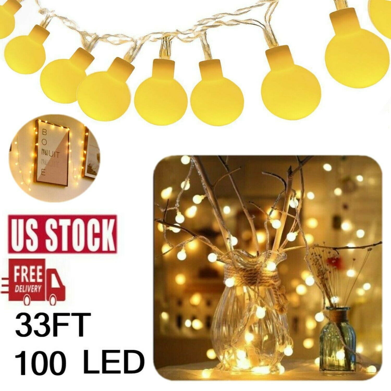 33Ft 100 LED String Ball Blubs Lights Indoor Waterproof Warm