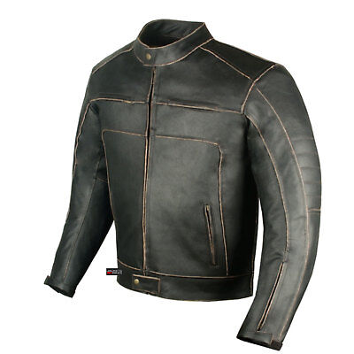 Men's Vintage Motorcycle Cruiser Armor Ventilated Leather Touring Biker Jacket