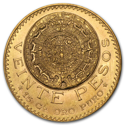 Mexico Gold 20 Pesos AGW .4823 Almost Uncirculated AU (Random Year) - SKU #1044