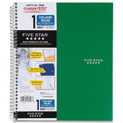 Five Star Spiral Notebook 1-subject 100 College-ruled Sheets 11 X 8.5 Inch...