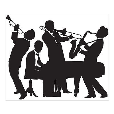 GREAT GATSBY JAZZ BAND SILHOUETTE 1920's PARTY WALL DECORATION ROARING 20's  (Great Gatsby Balloon Decorations)