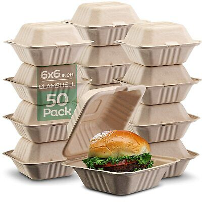 100 Compostable Clamshell Take Out Food Containers 6x6 Quot 50-pack Heavy-du