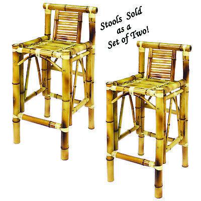 Bamboo Tiki Bar Stools Deluxe Patio Deck or Indoor Set of 2  - Tiki Bar Set