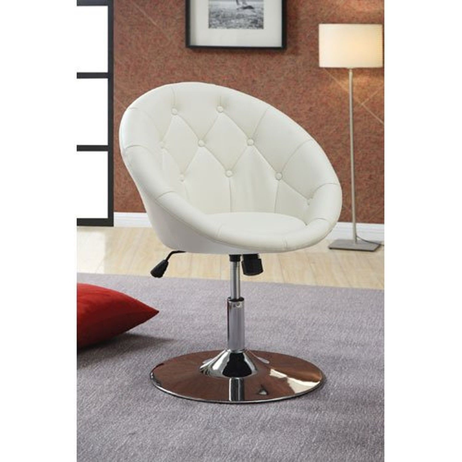 Swell Coaster 102583 Round Back Swivel Chair White Caraccident5 Cool Chair Designs And Ideas Caraccident5Info