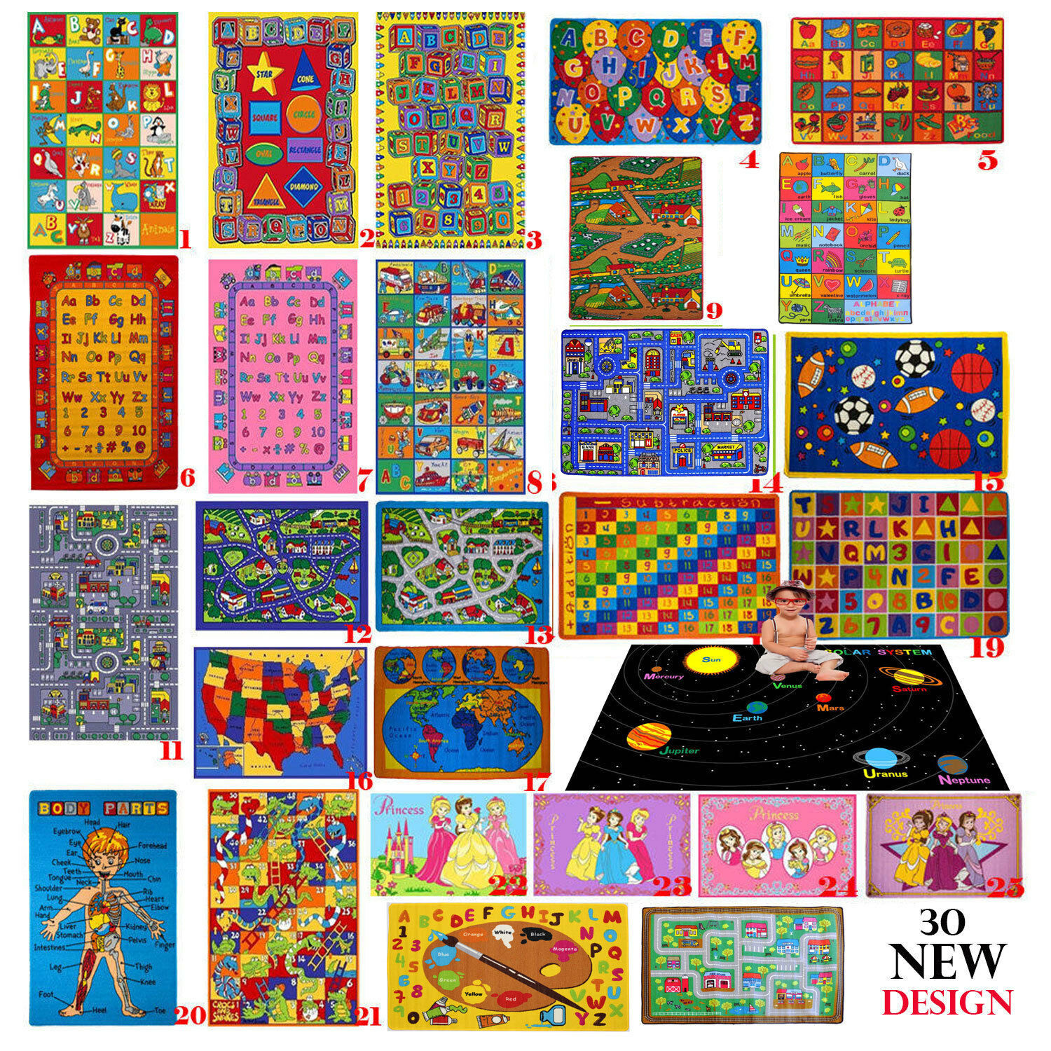 Купить KIDS CHILDREN SCHOOL CLASSROOM BEDROOM EDUCATIONAL RUG NON SKID GEL RUG (30 new)
