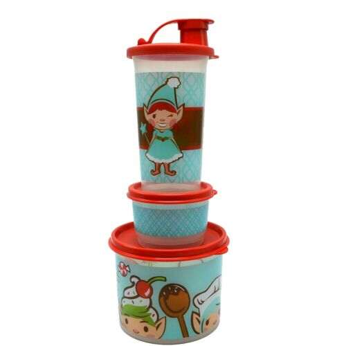 Tupperware Lunch Set Christmas Elf Girl Snack Cup 10.5 oz Tumbler Canister