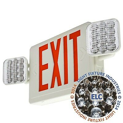 Red All Led Exit Sign Emergency Light Remote Capable Combo - Combolg-r-w-rh