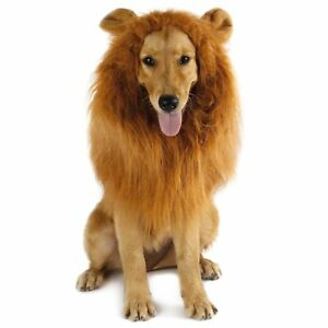 Pet Costume Lion Mane Wig w/ Ears for Large Dog Halloween Clothe Fancy Dress up